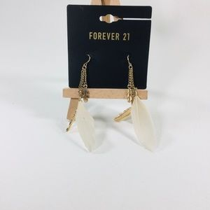 Forever 21 gold feather earrings